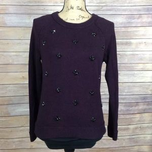 Ann Taylor Loft dark burgundy sweater jewels gems